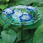 Poppy Paradise Glass Birdbath